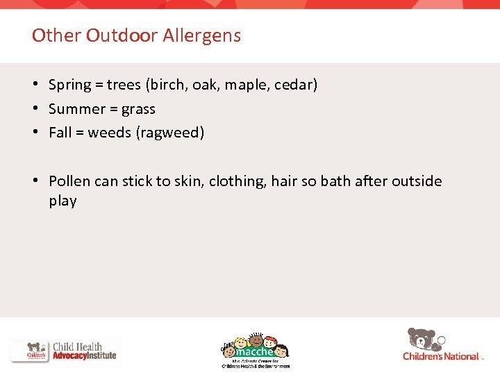 Other Outdoor Allergens • Spring = trees (birch, oak, maple, cedar) • Summer =
