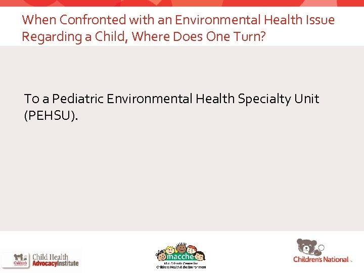 When Confronted with an Environmental Health Issue Regarding a Child, Where Does One Turn?