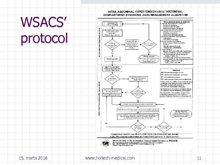 WSACS' protocol 15. marts 2018 www. holtech-medical. com 11