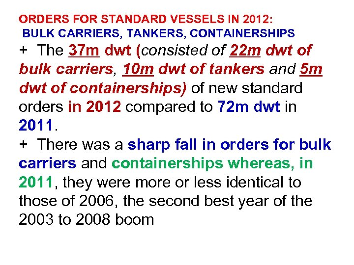 ORDERS FOR STANDARD VESSELS IN 2012: BULK CARRIERS, TANKERS, CONTAINERSHIPS + The 37 m