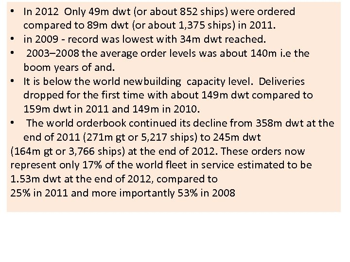 • In 2012 Only 49 m dwt (or about 852 ships) were ordered