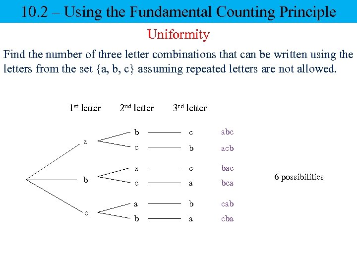 10. 2 – Using the Fundamental Counting Principle Uniformity Find the number of three