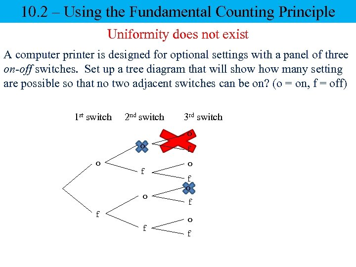 10. 2 – Using the Fundamental Counting Principle Uniformity does not exist A computer
