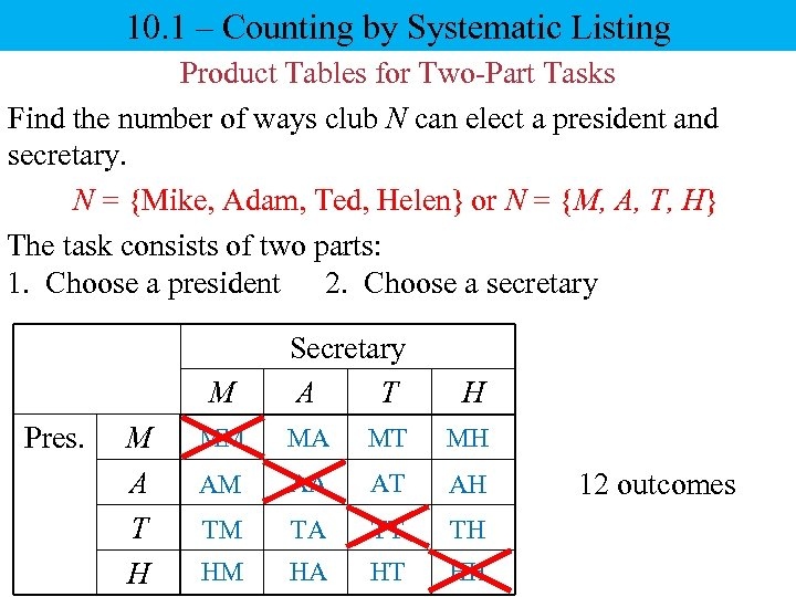 10. 1 – Counting by Systematic Listing Product Tables for Two-Part Tasks Find the