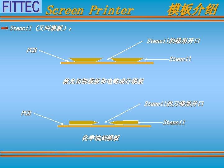 Screen Printer 模板介绍 Stencil (又叫模板): Stencil的梯形开口 PCB Stencil 激光切割模板和电铸成行模板 Stencil的刀锋形开口 PCB Stencil 化学蚀刻模板