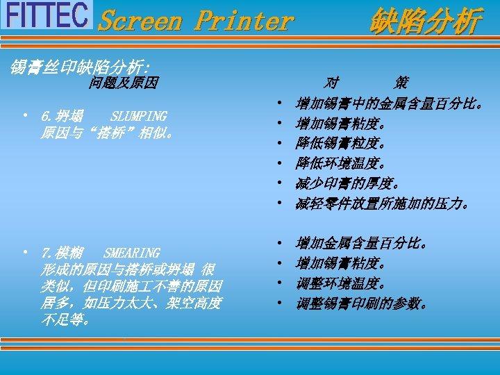 "Screen Printer 锡膏丝印缺陷分析: 问题及原因 • 6. 坍塌 SLUMPING 原因与""搭桥""相似。 • 7. 模糊 SMEARING 形成的原因与搭桥或坍塌"