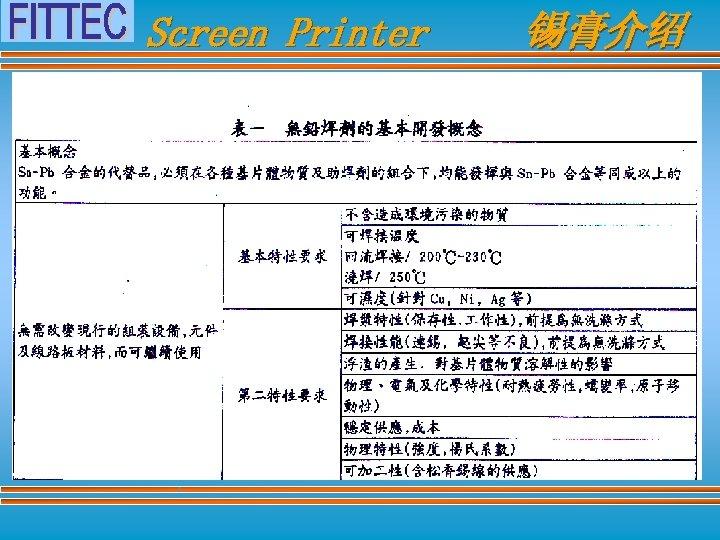 Screen Printer 锡膏介绍