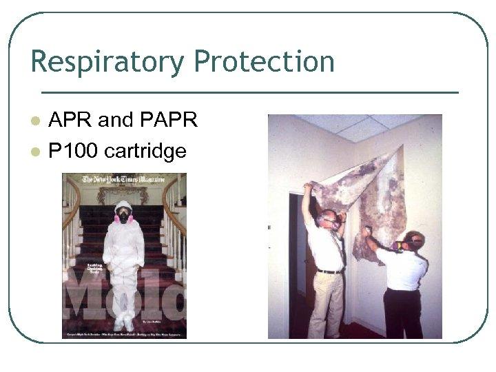Respiratory Protection l l APR and PAPR P 100 cartridge