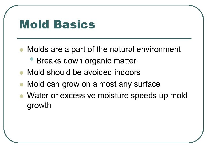 Mold Basics l l Molds are a part of the natural environment • Breaks
