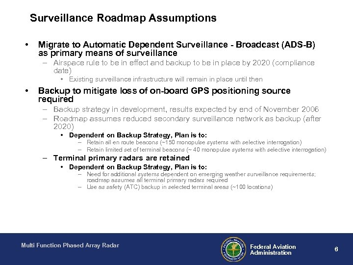 Surveillance Roadmap Assumptions • Migrate to Automatic Dependent Surveillance - Broadcast (ADS-B) as primary