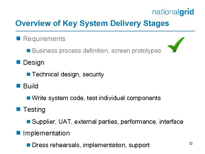 Overview of Key System Delivery Stages ¾ Requirements ¾ Business process definition, screen prototypes