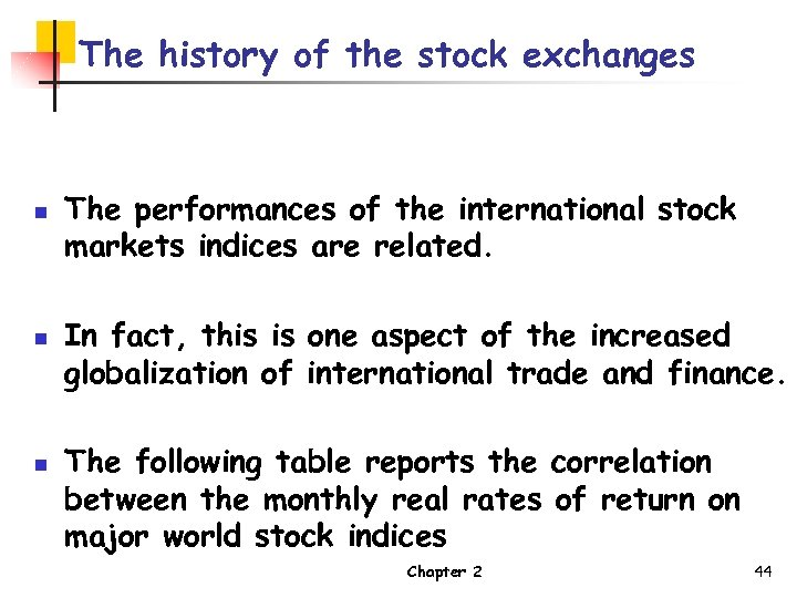 The history of the stock exchanges n n n The performances of the international