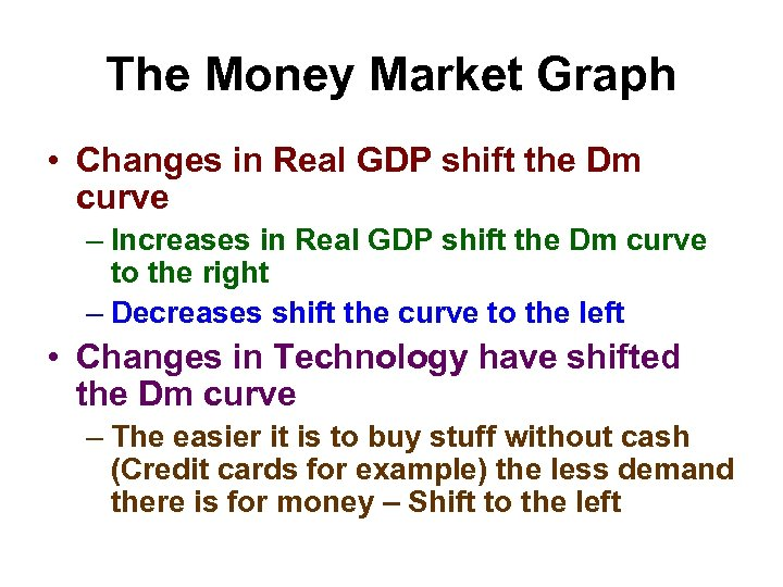 The Money Market Graph • Changes in Real GDP shift the Dm curve –