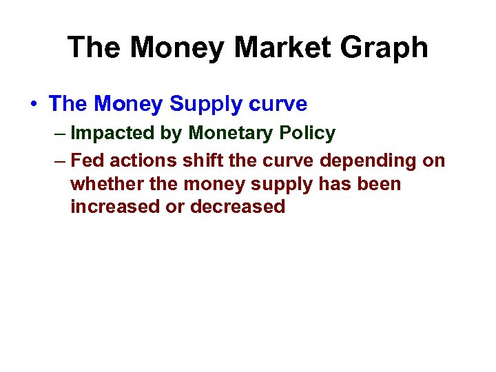 The Money Market Graph • The Money Supply curve – Impacted by Monetary Policy