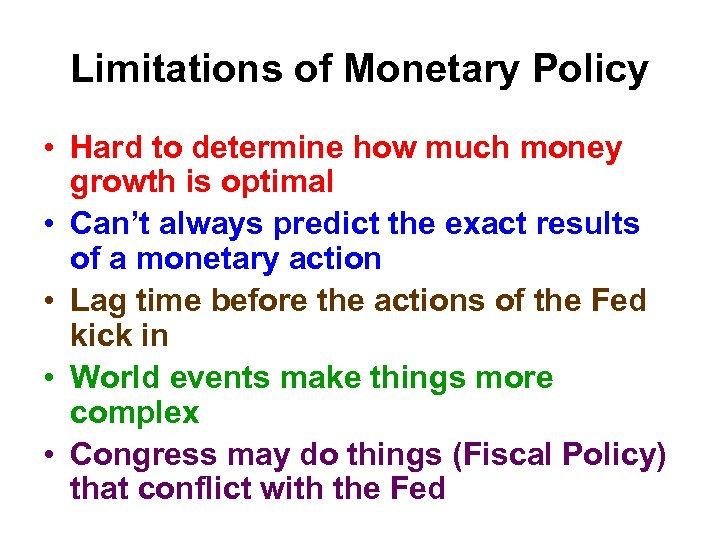 Limitations of Monetary Policy • Hard to determine how much money growth is optimal
