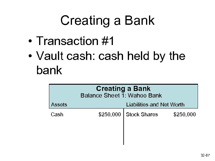 Creating a Bank • Transaction #1 • Vault cash: cash held by the bank