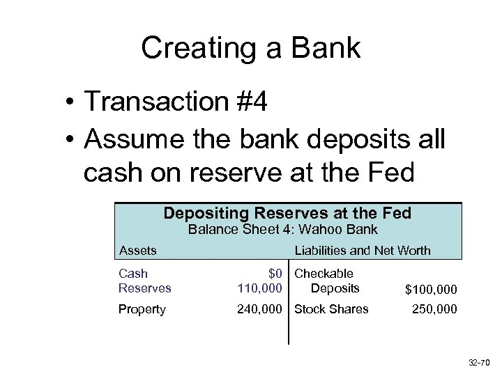 Creating a Bank • Transaction #4 • Assume the bank deposits all cash on