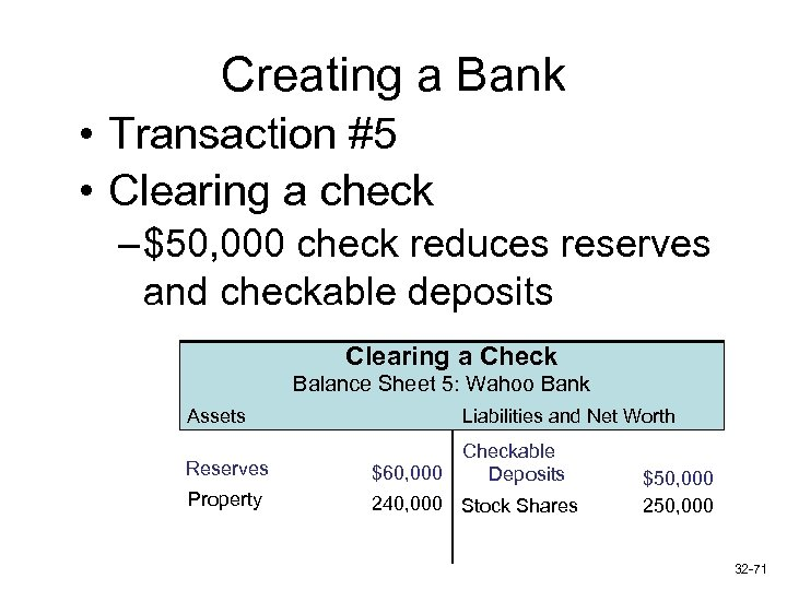 Creating a Bank • Transaction #5 • Clearing a check – $50, 000 check