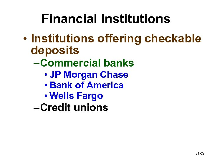 Financial Institutions • Institutions offering checkable deposits – Commercial banks • JP Morgan Chase