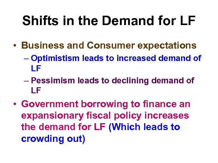 Shifts in the Demand for LF • Business and Consumer expectations – Optimistism leads