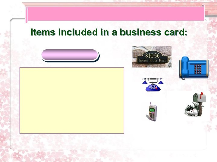 Items included in a business card: