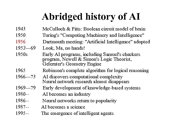 Abridged history of AI 1943 1950 1956 1952— 69 1950 s 1965 1966— 73