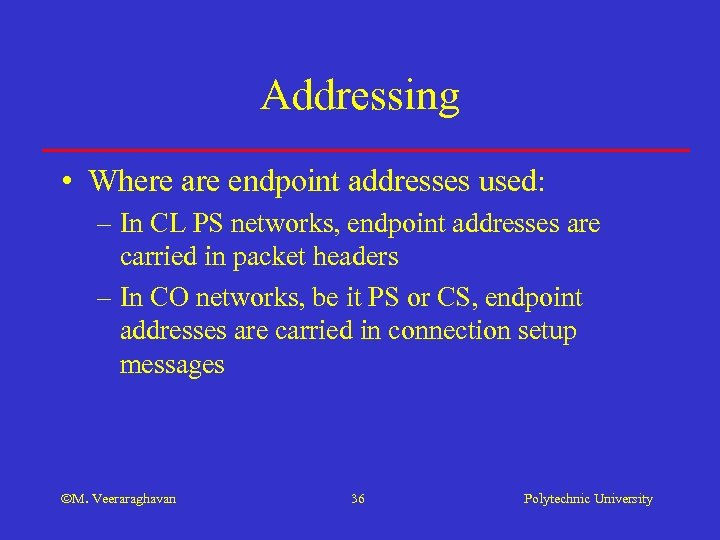 Addressing • Where are endpoint addresses used: – In CL PS networks, endpoint addresses