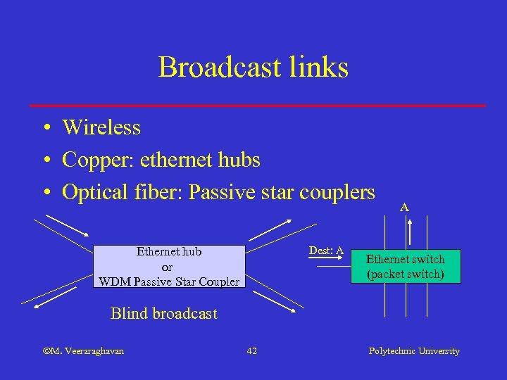 Broadcast links • Wireless • Copper: ethernet hubs • Optical fiber: Passive star couplers