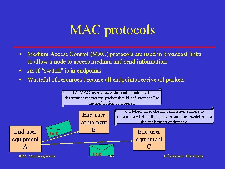 MAC protocols • Medium Access Control (MAC) protocols are used in broadcast links to