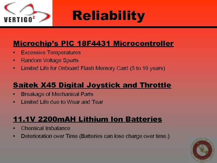 Reliability Microchip's PIC 18 F 4431 Microcontroller • • • Excessive Temperatures Random Voltage