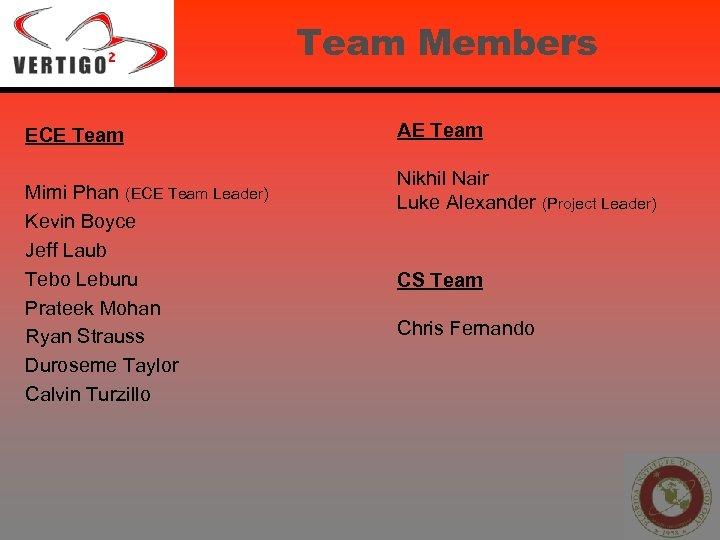 Team Members ECE Team Mimi Phan (ECE Team Leader) Kevin Boyce Jeff Laub Tebo