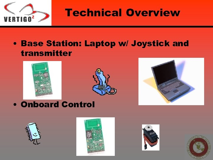 Technical Overview • Base Station: Laptop w/ Joystick and transmitter • Onboard Control