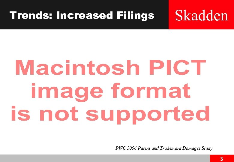 Trends: Increased Filings Skadden PWC 2006 Patent and Trademark Damages Study 3