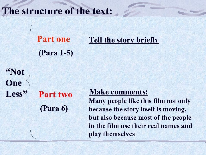 The structure of the text: Part one Tell the story briefly (Para 1 -5)