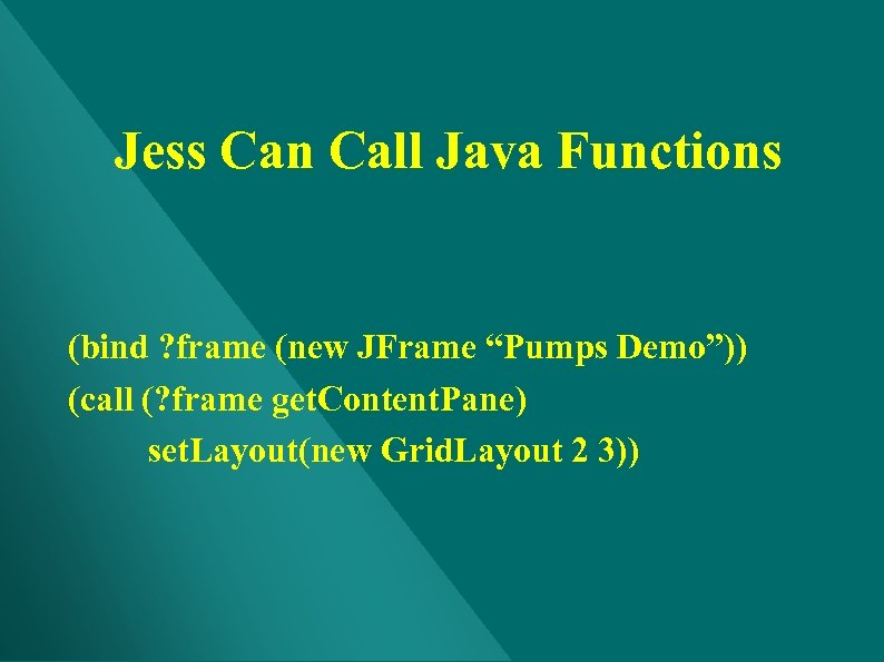 """Jess Can Call Java Functions (bind ? frame (new JFrame """"Pumps Demo"""")) (call (?"""