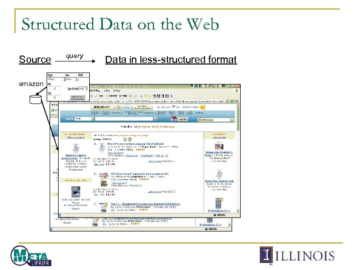 Structured Data on the Web Source amazon query Data in less-structured format