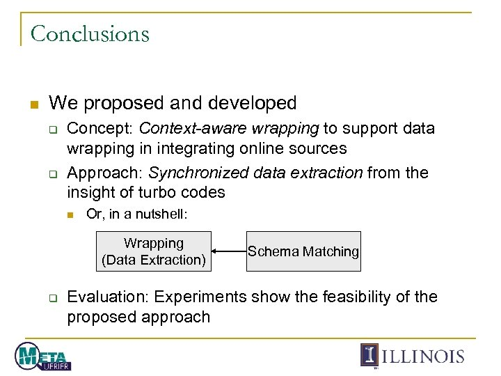 Conclusions n We proposed and developed q q Concept: Context-aware wrapping to support data
