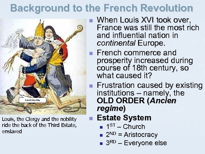 Background to the French Revolution n I don't like this game… Louis, the Clergy