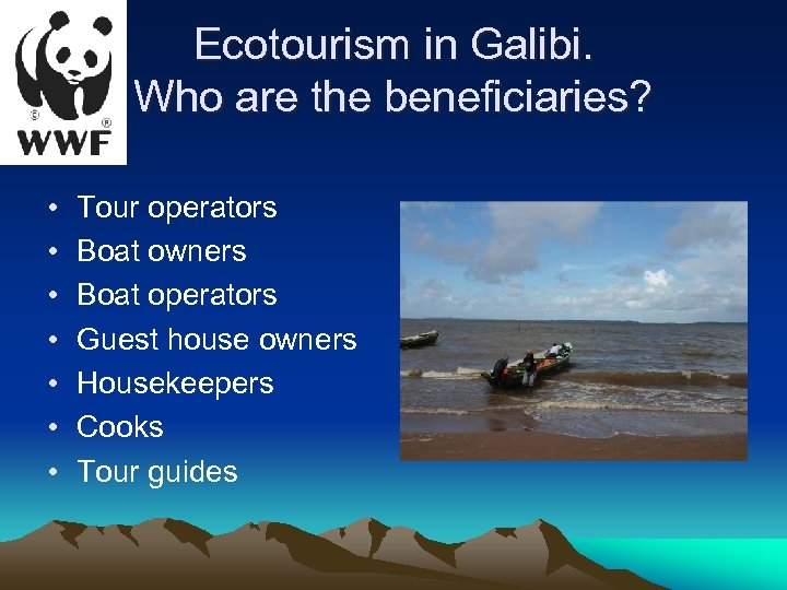 Ecotourism in Galibi. Who are the beneficiaries? • • Tour operators Boat owners Boat
