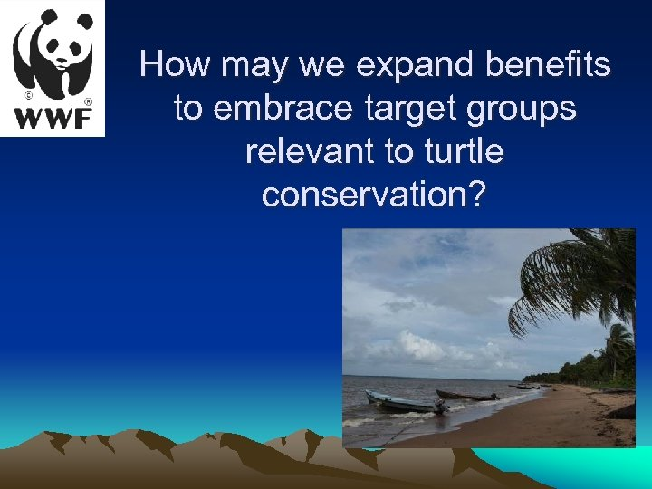 How may we expand benefits to embrace target groups relevant to turtle conservation?
