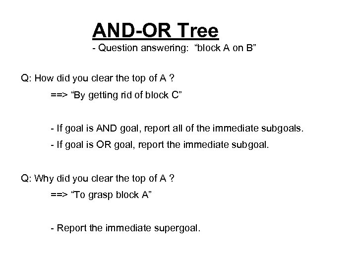 """AND-OR Tree - Question answering: """"block A on B"""" Q: How did you clear"""