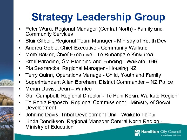 Strategy Leadership Group § Peter Waru, Regional Manager (Central North) - Family and Community