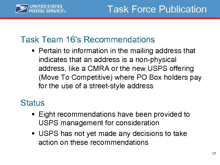 Task Force Publication Task Team 16's Recommendations § Pertain to information in the mailing