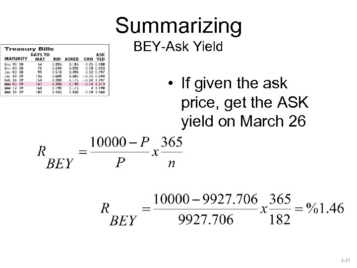 Summarizing BEY-Ask Yield • If given the ask price, get the ASK yield on