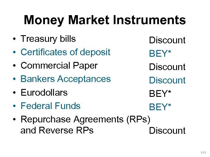 Money Market Instruments • • Treasury bills Discount Certificates of deposit BEY* Commercial Paper