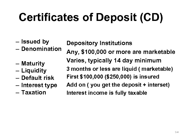 Certificates of Deposit (CD) – Issued by Depository Institutions – Denomination Any, $100, 000