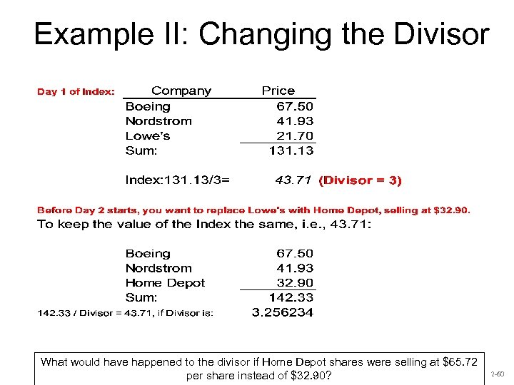 Example II: Changing the Divisor What would have happened to the divisor if Home