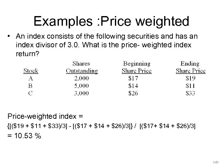 Examples : Price weighted • An index consists of the following securities and has