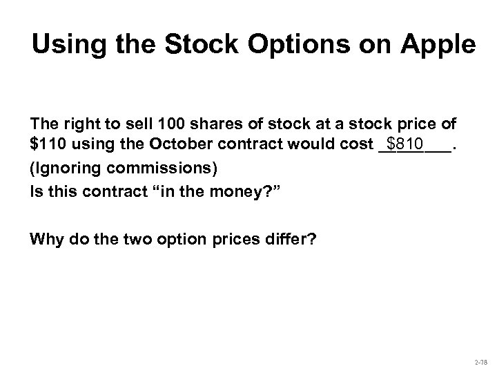 Using the Stock Options on Apple The right to sell 100 shares of stock