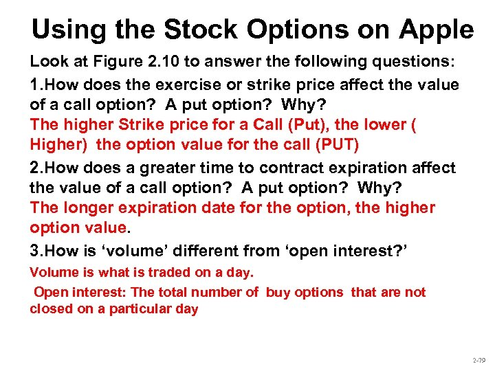 Using the Stock Options on Apple Look at Figure 2. 10 to answer the